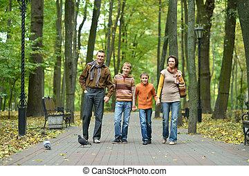 quatre, automne, famille, délassant, parc