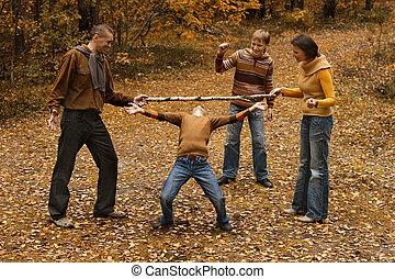 quatre, automne, famille