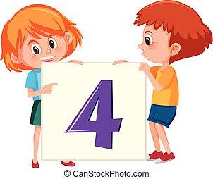 quatre, bannière, enfants, tenue, nombre
