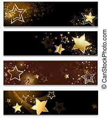 quatre, bannières, étoiles