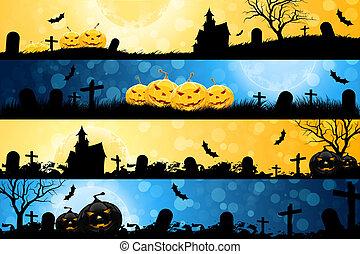 quatre, bannières, halloween