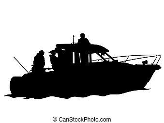 quatre, bateau moteur