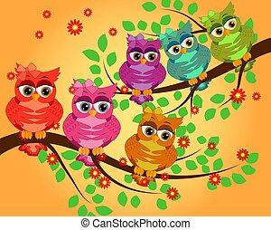 quatre, branches., valentine, séance, invitations, salutation, couples, hiboux, éléments, album, cartes, etc., cartes, gentil