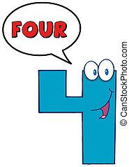 quatre, bulle, parole