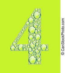 quatre, bulles, vert
