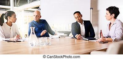 quatre, business, ensemble, projet, nouveau, collaberating, cadres