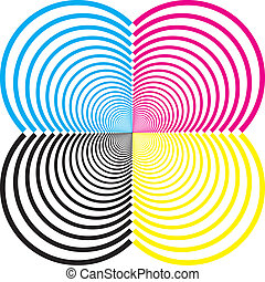 quatre carré, sugestion, tridimensional, coins, résumé, demicircles, élément, cmyk, descendre, fond