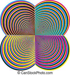 quatre carré, sugestion, tridimensional, coins, résumé, demicircles, cmyk, descendre