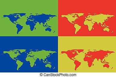 quatre, cartes, ensemble, coloré, mondiale