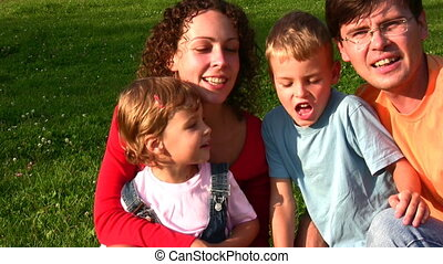 quatre, chant, famille, faces