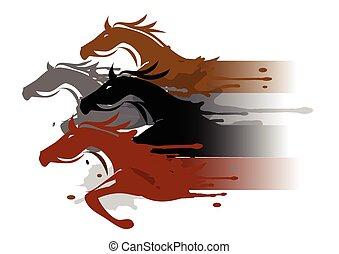 quatre, chevaux, courant