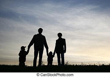 quatre, ciel, famille