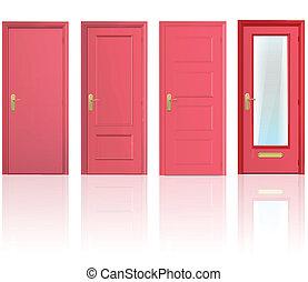 quatre, collection, rouges, portes