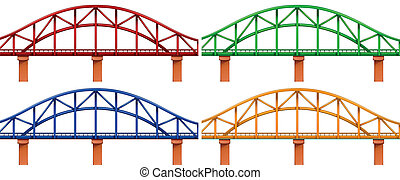 quatre, coloré, ponts