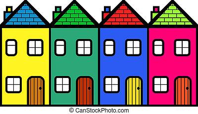quatre, communauté, logement, coloré, dessin animé