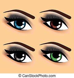 quatre, couleurs, yeux, oeil, différent