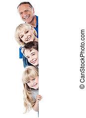 quatre, derrière, whiteboard, famille, vide