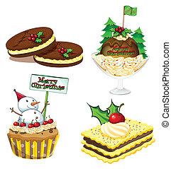 quatre, desserts, noël