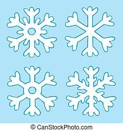 quatre, dessin animé, flocons neige