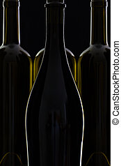 quatre, différent, bouteilles, vin