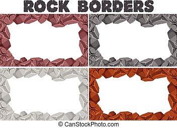 quatre, différent, frontières, couleurs, rochers