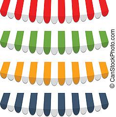 quatre, différent, vecteur, coloré, marquises