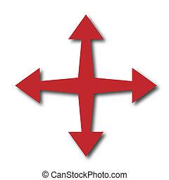 quatre, directions, différent, flèches, pointage