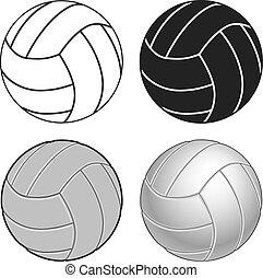 quatre, directions, volley-ball