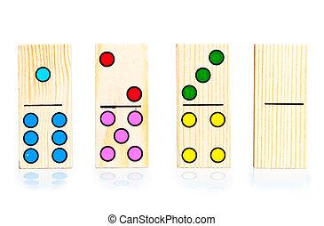 quatre, dominos, différent, fond blanc