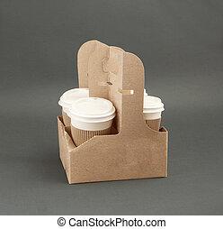quatre, emporter, support, café