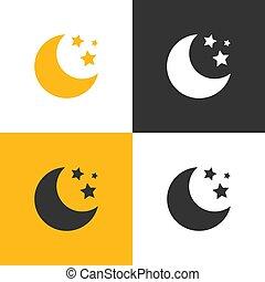 quatre, ensemble, étoiles, lune