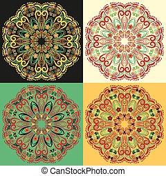 quatre, ensemble, motifs, traditionnel, khokhloma., russe, mandala, circulaire
