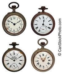 quatre, ensemble, vieux, poche, iso, montres