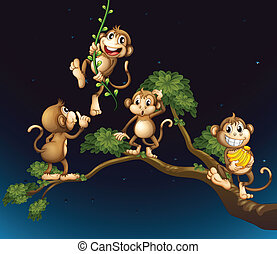 quatre, espiègle, arbre, singes