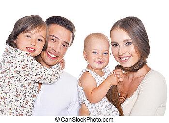 quatre, famille blanche, heureux