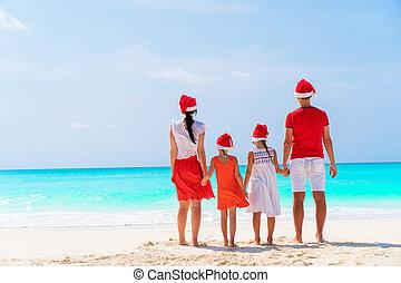 quatre, famille, chapeaux, exotique, célébrer, santa, plage, noël, rouges