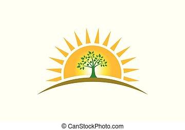 quatre, famille, gens, personnes, soleil, logo., arbre, fort
