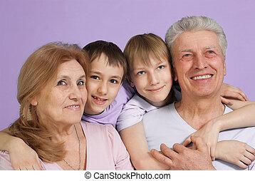 quatre, famille, heureux