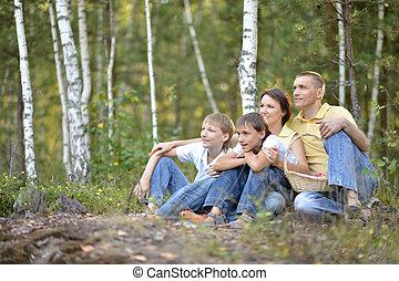 quatre, famille, parc, automne, portrait, heureux