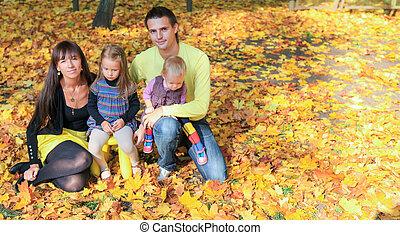 quatre, famille, parc, jeune, jaune, charmer, automne, temps, apprécier