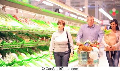 quatre, famille, supermarché
