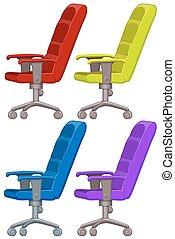 quatre, fauteuil, couleurs