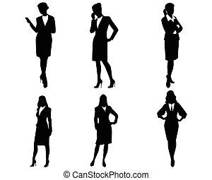 quatre, femme affaires, silhouettes
