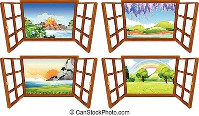 quatre, fenêtre, par, scènes, nature