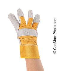 quatre, finger., projection, gloved main