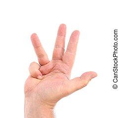 quatre, fingers., main., homme