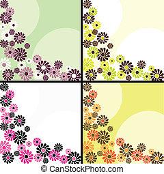 quatre, fleuri, arrière-plans, retro