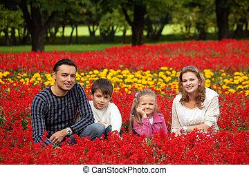 quatre, fleurir, parc, famille, heureux
