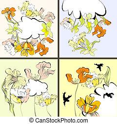 quatre, floral, ensemble, carte