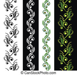 quatre, floral, seamless, motifs